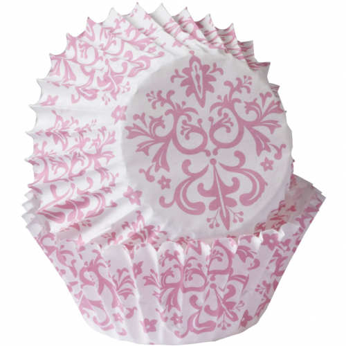 Mini Pink Damask Baking Cases